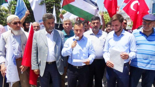 AGD'Lİ GENÇLER İSRAİL'İ PROTESTO ETTİ (BARIŞ TÜREL/MALATYA-İHA)