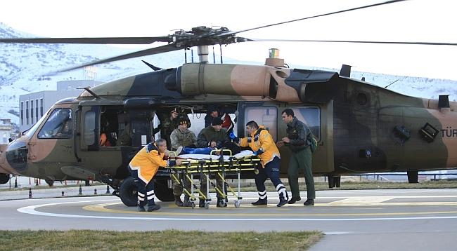 Köydeki Hasta Askeri Helikopterle Nakledildi