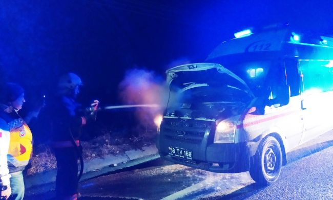 Malatya'ya Hasta Getirirken Alev Aldı