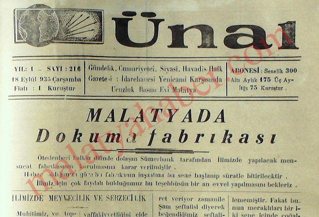 Sümerbank 18 Eylül 1935 ÜNAL GAZETESİ