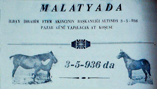 Malatya'da 90 Yıl Önceki Hipodrom ve At Yarışları