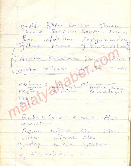 Sema türküsü el yazısı taslak