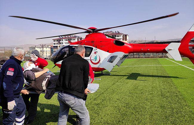 Helikopterle Hastaneye Yetiştirildi