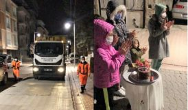 Mahalleliden Temizlik İşçilerine Gece Sürprizi
